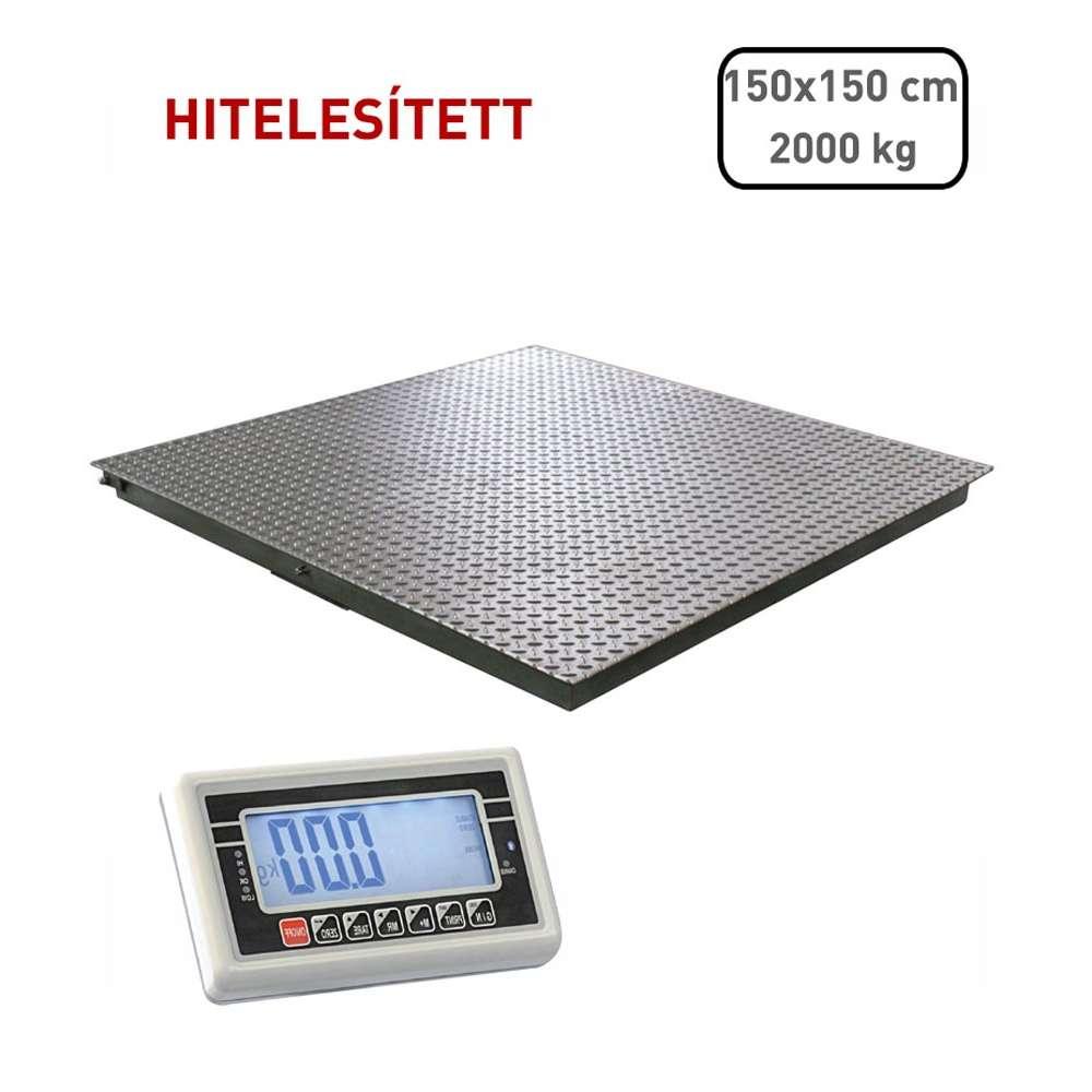 Hitelesített lapmérleg 150x150 cm - 2000 kg