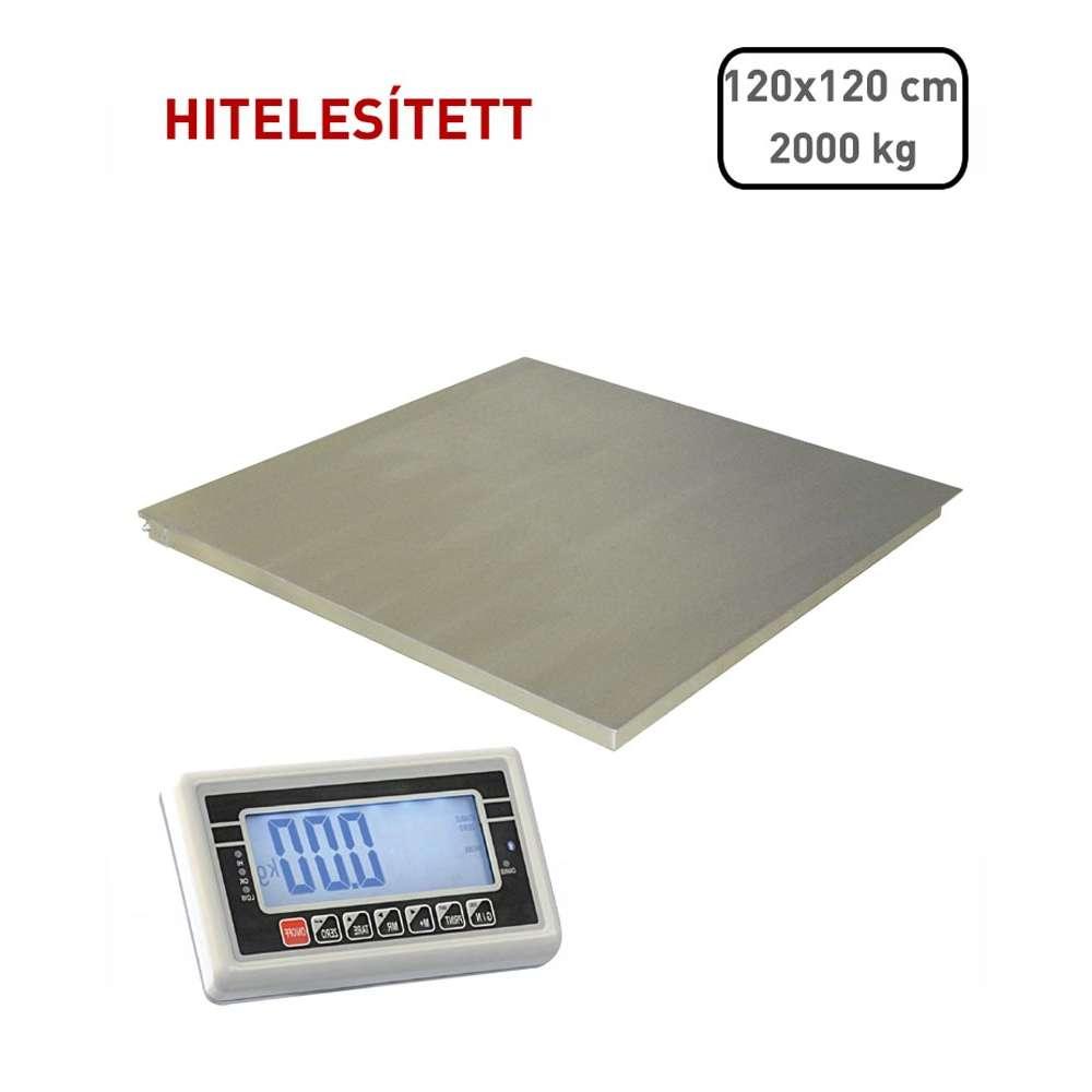 Hitelesített lapmérleg 120x120 cm, 2t - rozsdamentes acél